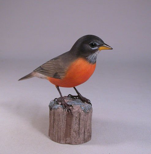 "5 1/2"" Robin Original Backyard Bird Carving/Birdhug"