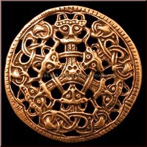 Fibel Wikinger Scheibenfibel Bronze Gewandnadel Brosche Borre-Stil Mittelalter