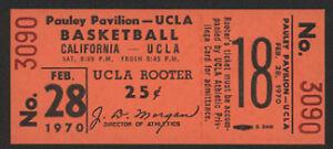 1970 Cal vs UCLA Full Basketball Ticket