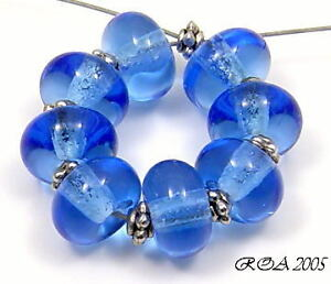 ROA-Lampwork-8-Tsp-Blue-054-5x10-Handmade-Round-Spacer-Glass-Beads-SRA