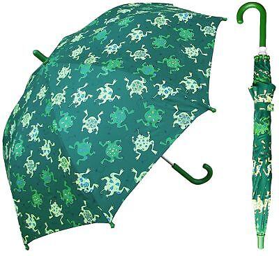 "32"" Children Green Frog Print Umbrella - RainStoppers Rain/Sun UV Cute"