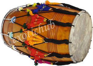 DHOL DRUMS~MANGO WOOD PUNJABI BHANGRA~WITH PLAYING STICKS AND DECORATION PART