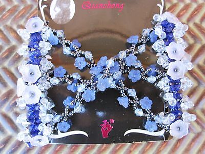 Double Stretch Beaded Metal Wire Hair Comb 2 Tone Blue Usa Seller