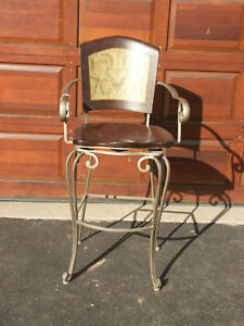 Frontgate Barstool Wood Iron Kitchen Counter Chair Stool