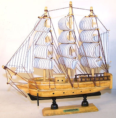 Lg Wooden Sail Ship 13 In Boats Wood Ships Decor Wind Sails Model Boat Toy