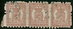 FINLAND-12a-5pen-Roul-II-laid-paper-used-strip-of-3
