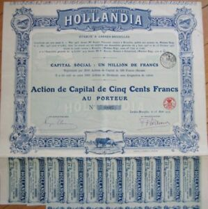 1919-Milk-Dairy-Stock-Bond-Laitiere-Hollandia-Laeken