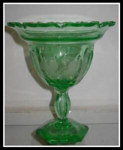 Superb-Unusual-Antique-Hawkes-Green-Uranium-Glass-Compote