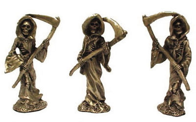 PEWTER GRIM REAPER CAPE FIGURINES statue NEW ITEM metal skeleton death man scull