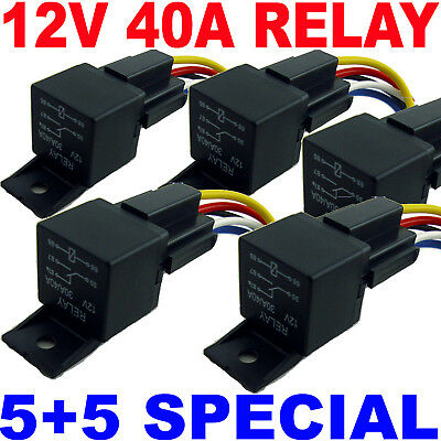 (5)12V BOSCH STYLE RELAYS 40A SPDT + (5) 5-WIRE SOCKETS on Rummage