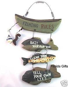 Wood Fishing Rules Sign - Fish Boat Nautical Decor New