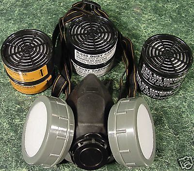 DUAL CARTRIDGE RESPIRATOR face DUST MASK with 6 Filters New twin  - Dual Cartridge Respirator