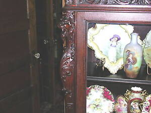 antique-r-j-horner-mahogany-griffin-three-door-bookcase