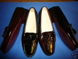 NEW-COLE-HAAN-BLK-OR-BURG-LEA-PINCH-SHAWL-TASSEL-LOAFER