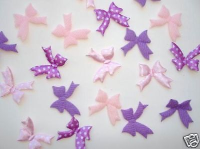 80 Pink, Purple Felt/satin Polka Dots Ribbon Bow Applique Mix Set/trim/doll H148