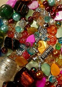 Mixed-Lots-200-Jewellery-Making-Glass-Beads-Shell-Tibetan-Lampwork