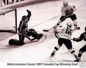 Lemieux 1987 Canada Cup Winning Goal, 8x10 B&W Photo