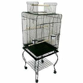 Parrot-Bird-Cage-Top-Play-W-Stand-Wheel-20x20x57-0123-Black-Vein
