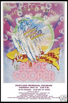 Rock: Alice Cooper at  Portland Memorial Concert Poster Circa 1973