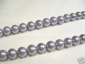 JOB-LOT-of-10-strings-x-Glass-Pearl-6mm-Round-Beads-80B-Silver-Grey-1440-beads