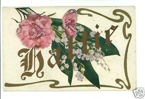 HATTIE-LARGE-LETTER-NAME-CARNATIONS-POSTCARD