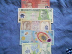 set-of-5-diff-world-poly-plastic-currency-most-Unc
