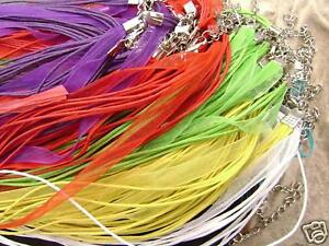 Mixed-Color-Organza-Ribbon-Cord-Necklace-Choker-with-2in-extender-10-Qty