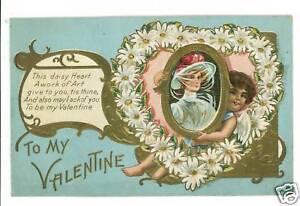 VALENTINE-DAISY-HEART-CUPID-WOMAN-ART-POSTCARD