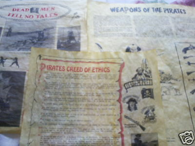 "set of 3 pirate posters on parchment paper 14"";Pirates Creed of Ethics, weapons,"