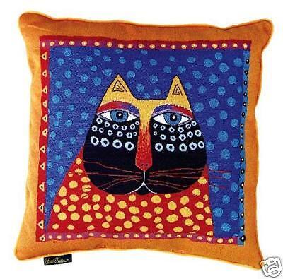 Laurel Burch Polka Dot Cat Decorative Tapestry Throw Pillow New