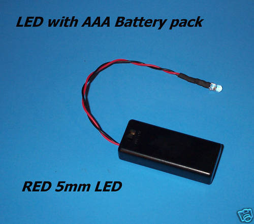 Red 5mm Led With Aaa Battery Pack & Switch (halloween / Projects / Diy)