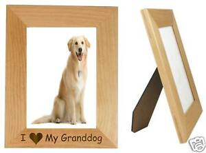 I Love My Granddog Wood 5 x 7 V Engraved Frame Dog Gift