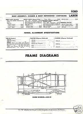 1942 46 47 48 Ford Frame Dimension Alignment Specs