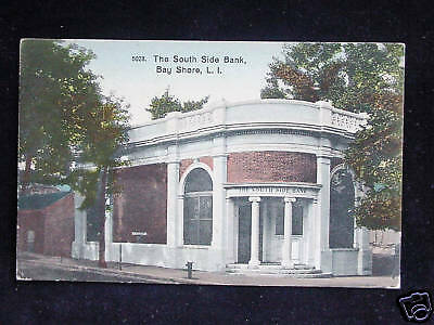 C 1910 South Side Bank Bay Shore Li Ny Post Card