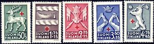 World War 1942 Provincial Coat Of Arms Red Cross Finland MNH Stamps