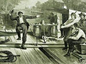Loggers-Dancing-on-LUMBER-RAFT-Wood-Logs-1873-Antique-Print-Matted