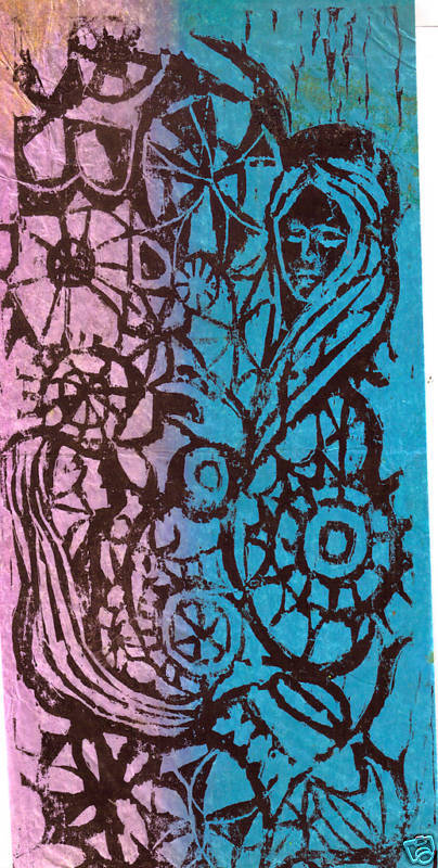 """FANTASY"" by RUTH  FREEMAN WOODCUT 5 3/4"" X 12 1/2"""