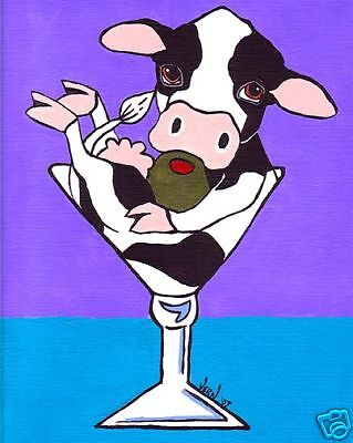 HOLSTEIN COW MARTINI Art PRINT of Painting by Vern