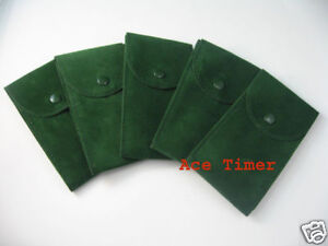 Pack-of-5-Green-Velvet-Watch-Pouch-w-Divider-Fits-Rolex-and-Others-Watches