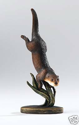 A20075 Border Fine Arts Studio Gilded Nature Otter & Reeds Figurine NEW 12342