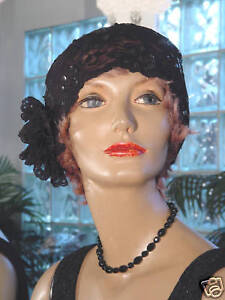 1920s-HAT-FLAPPER-Cloche-HAT-Black-LACE-SEQUINS-Flexible-VERY-CUTE-ON