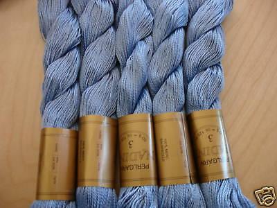 5 Stück Stickgarn, Perlgarn Stärke 3 - Farbe hellblau, insgesamt 250 Gramm