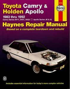 haynes repair manual toyota camry holden apollo 83 92. Black Bedroom Furniture Sets. Home Design Ideas