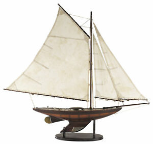 Antiqued-Yacht-Ironsides-Small-Wooden-Built-Model-Boat-39-Sailboat
