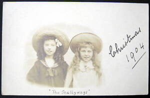 "1904 ""The Scallywags"" Two Young Girls in Hats RPPC"