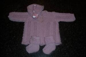 ACRYLIC-FEATHER-AND-FAN-BABY-3-PIECE-LAYETTE-HAND-KNITTED