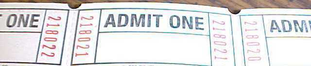 Admit one Tickets qty 1000 Consecutively Numbered NEW Raffles Drinks Admission