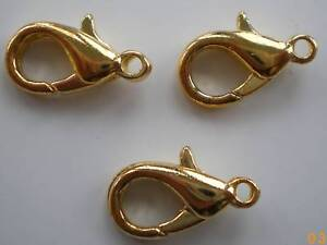 BARGAIN-50-x-10mm-Gold-Plated-Lobster-clasps
