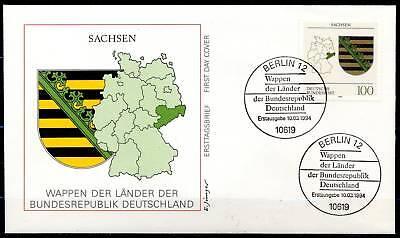 BRD 1994: Sachsen! Landeswappen-FDC Nr 1713 mit Berliner Sonderstempeln! 1A 1612