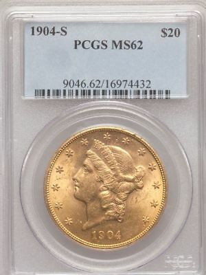 1904 S $20 LIBERTY DOUBLE EAGLE PCGS MS62 MS 62